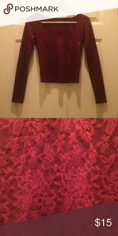 American Eagle crop top! NWT. Maroon, scoop neck, long sleeve, crop top with gorgeous detail. American Eagle Outfitters Tops Crop Tops