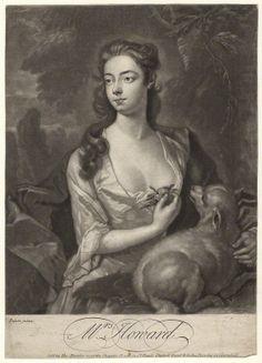 Henrietta Howard (nee Hobart), Countess of Suffolk when Mrs Howard by John Faber Jr, after J. Peters mezzotint, circa 1725-1750 NPG D4335