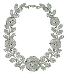 Belle Époque Diamond and Emerald 'Eglantine' Necklace, by Cartier