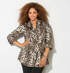 Let out your wild side with edgy animal prints like our plus size Cheetah Pleated Top available in sizes 14-32 online at avenue.com. Avenue Store