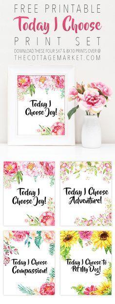 Free Printable Today I choose Print Set - The Cottage Market /Farmhouse/ Life Hacks/ Recipes/ Free Printables + - Printable Quotes, Printable Planner, Planner Stickers, Printable Wall Art, Free Printables, Printable Lables, Planners, To Do Planner, Diy And Crafts