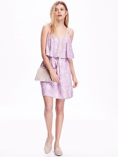 Tiered lavender and white print dress form old navy