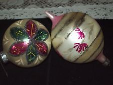2 Large Vintage Glass Christmas Ornaments POLAND WEST GERMANY/love the pink and green