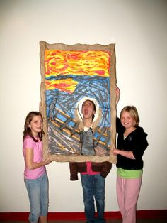 A fantastic idea for an art party photo op! Make 1 or 2 famous paintings for the kids to be a part of... what a fun keepsake they will make! This was an art lesson where student groups learn about famous artists and create a giant replica of an art piece. Kudos to their art teacher!