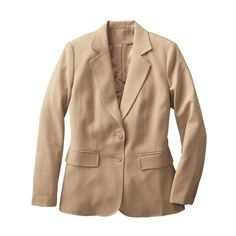 All-Seasons Blazer ❤ liked on Polyvore featuring outerwear, jackets, blazers, travelsmith, plus size blazer jacket, plus size beige blazer, beige jacket and petite blazer