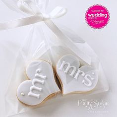 Our Mr & Mrs wedding cookie favours featured in Wedding Cakes Magazine Autumn 2017 edition wedding favors Wedding Favours For Female Guests, Unique Wedding Souvenirs, Creative Wedding Favors, Inexpensive Wedding Favors, Rustic Wedding Favors, Unique Wedding Favors, Biscuit Wedding Favours, Wedding Cake Cookies, Cookie Wedding Favors
