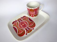 Figgjo Granada TV or snack plate with cup, breakfast set in hot red and caramel door HuntersKitchen, €48.00, hunterskitchen.etsy.com