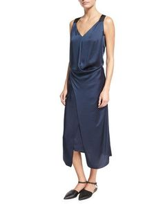 TGL2H Brunello Cucinelli Liquid Satin Sleeveless Midi Dress, Dark Blue