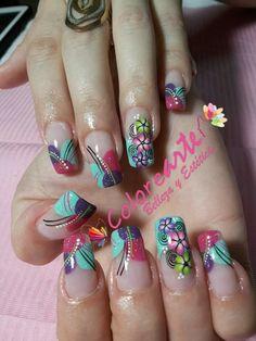 Uñas Perfect Nails, Gorgeous Nails, Pretty Nails, Simple Nail Designs, Nail Art Designs, Precious Nails, Cute Acrylic Nails, Nail Studio, Hot Nails