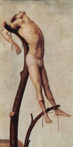 "da messina ""antwerp crucifixion"" detail of thief Italian Painters, Italian Artist, Friend Of God, Giorgio Vasari, High Middle Ages, Renaissance Paintings, Italian Renaissance, Tumblr, Male Figure"