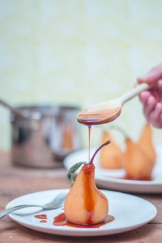 A tea-based twist on the traditional poached pear recipe. Using red rooibos tea, these pears are rich, elegant and spicy. You won't even notice the lack of wine.