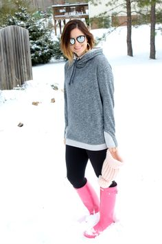 With Style & Grace: Simple Addiction sweatshirt, pink Hunter Boots outfit, winter style