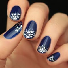 Fashion Trends : Nail Art - Royal Blue Nails With Silver Accents;blue manicure;blue nail designs;Blue Gel;Nail Polish;blue nail art;rhinestone nails; Winter Nail Art, Winter Nail Designs, Short Nail Designs, Nail Art Designs, Navy Blue Nail Designs, Nail Art For Fall, Nail Designs For Toes, Blue Nails With Design, Sparkly Nail Designs