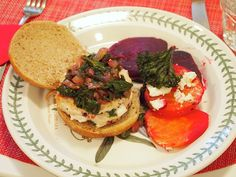 Goat Cheese Stuffed Turkey Burgers with Beet Greens.