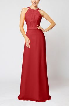 Red Evening Dress - Elegant Column Sleeveless Zip up Pleated