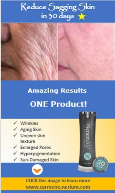 Reduce Sagging Skin in 30 Days with just ONE product. Click the image to see 1000+ before and after photos of real people (not models) like you and me! www.carmene.nerium.com