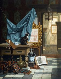 "ganymedesrocks: "" sakrogoat: "" Charles Joseph Grips - The Artist's Studio "" Charles Joseph Grips was a Belgian painter who studied painting at the Academy of Antwerp, a curriculum aspect,. Classic Paintings, Wise Women, Pictures To Paint, New Artists, Cat Art, Homemaking, Les Oeuvres, Art History, Joseph"