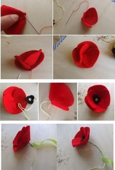 Fühlte mich Mohn, You are in the right place about DIY Fabric Flowers how to make Here we offer you the most beautiful pictures about the DIY Fabric Flowers how to make you are loo Cloth Flowers, Paper Flowers Diy, Handmade Flowers, Felt Flowers, Flower Crafts, Fabric Flowers, Felt Flower Diy, Crochet Flower, Felt Flower Template