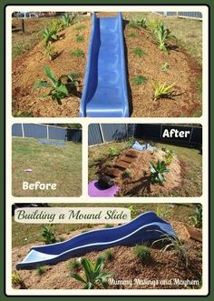 Natural Playspaces - Building a Mound Slide via Mummy Musings and Mayhem natural playground ideas How to build a hill slide for children's outdoor play area! Natural Play Spaces, Outdoor Play Spaces, Kids Outdoor Play, Kids Play Area, Backyard For Kids, Backyard Projects, Outdoor Learning, Backyard Play Spaces, Kids Yard