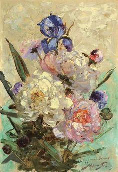 "wonderingaboutitall: ""Irises And Peonies - Abbott Fuller Graves """