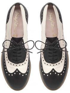 Pretty Ballerinas' Charilze Black and White Brouge with Bright Green Sole.