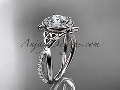 """platinum celtic trinity knot engagement ring, wedding ring with a """"Forever Brilliant"""" Moissanite center stone CT789"""