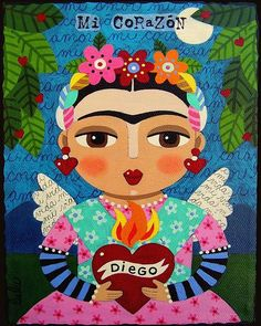 Diego Rivera Painting - Frida Kahlo Angel And Flaming Heart by LuLu Mypinkturtle Diego Rivera, Frida E Diego, Frida Art, Natalie Clifford Barney, Heart Painting, Diy Painting, Mexican Folk Art, Pillow Sale, Oeuvre D'art