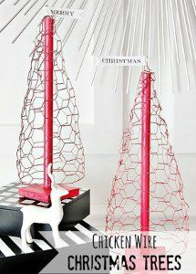 Chicken Wire Christmas Trees - Learn how to make a tree out of chicken wire and save yourself some time and money this year.