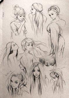 Simple girls pencil drawings.