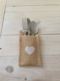 25 Hessian/Burlap Cutlery Holders with White Heart by BreeWestwood, $32.50