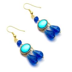 Peacock & Royal blue crystal earrings