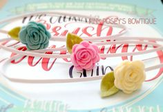 Abrie's Pink, Cream, & Sea Foam Blue Dainty Flower Headband Set, Photo Props, Baby Gift