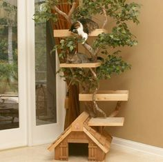 Cat tree house; like the idea of incorporating an actual tree