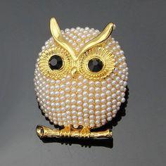 Gold & Pearl Owl Brooch #Brooch