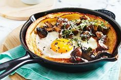 Dutch baby pancakes with fried eggs and mushrooms Recipe Food Savory pancakes Breakfast Baby Pancakes, Savory Pancakes, Eggs And Mushrooms, Stuffed Mushrooms, Dutch Baby Pancake, Breakfast Recipes, Breakfast Ideas, Sunday Breakfast, Breakfast Dishes