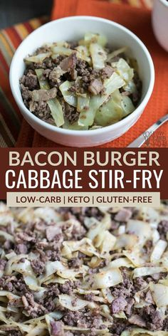 Short on time? It only takes about 20 minutes to whip up a delicious low carb bacon burger cabbage stir fry skillet dish that the whole family will love. Ground Beef And Cabbage, Cabbage And Sausage, Cabbage Stir Fry, Chicken And Cabbage, Cooked Cabbage, Keto Side Dishes, Side Dishes Easy, Side Dish Recipes, Main Dishes
