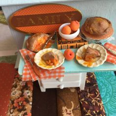 Peach Pies Aqua and Rust Dessert Tray and by RibbonwoodCottage