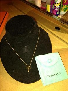 New Auth $1250 Tiffany Co Elsa Peretti 18K Yellow Gold Cross Necklace | $625 on eBay