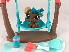 Littlest Pet Shop RARE Chocolate Brown Boxer Puppy #1052 w/Swing & Accessories #Hasbro