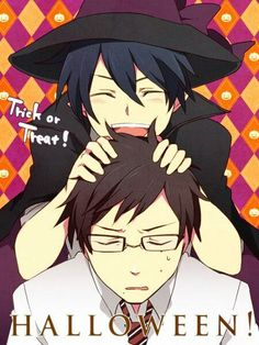 Happy Halloween, text, Rin, witch, Yukio, funny, Okumura twins, brothers; Blue Exorcist: