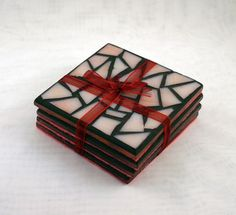 Pink Random Glass Coasters by DiomoGlass on Etsy
