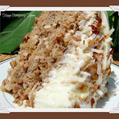 Hawaiian wedding cake.  I was given a recipe like this years ago and really enjoyed it. The icing is interesting.