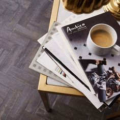 Today's plan involves putting our feet up and browsing through the retro Amtico brochures we rediscovered the other day... But first, coffee! 😋