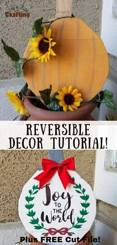 Make a cute reversible wooden pumpkin and ornament sign. Plus get a FREE Joy to the World Cricut SVG cut file! Diy Arts And Crafts, Fall Crafts, Home Crafts, Diy Crafts, Pumpkin Crafts, Thanksgiving Crafts, Holiday Crafts, Wooden Decor, Wooden Diy