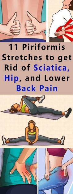 11 Piriformis Stretches to get Rid of Sciatica Hip and Lower Back Pain If you have ever experienced the sciatic nerve pain you know how is unbearable. The reasons for the occurrence of sciatica include body injuries spinal stenosis and ruptured disk amo Sciatica Stretches, Sciatica Pain Relief, Sciatic Pain, Back Pain Relief, Hip Stretches, Douleur Nerf, Piriformis Muscle, Piriformis Syndrome, Back Pain