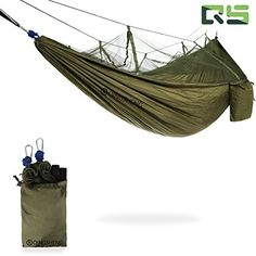 Portable Outdoor Double Camping Hammock With Mosquito Net, Nylon Lightweight Parachute Fabric 2 Person Camp Gear For Camping Hiking Backpacking Travel, Straps Ropes Carabiners, Army Green - http://www.caraccessoriesonlinemarket.com/portable-outdoor-double-camping-hammock-with-mosquito-net-nylon-lightweight-parachute-fabric-2-person-camp-gear-for-camping-hiking-backpacking-travel-straps-ropes-carabiners-army-green/  #Army, #Backpacking, #Camp, #Camping, #Carabiners, #Double,