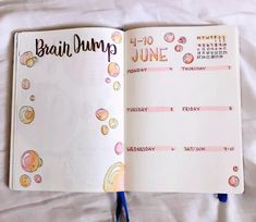 Bubble Bullet Journal theme. One page weekly spread and brain dump