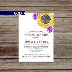 Wedding Reception Invitation with Flowers, Reception Only Invitation, sunflower wedding invite, iris wedding invite-Printed or Digital File Reception Only Invitations, Sunflower Wedding Invitations, Rehearsal Dinner Invitations, Fall Rehearsal Dinners, Wedding Rehearsal, Watercolor Sunflower, Etsy Shop, Prints, Wedding Ideas