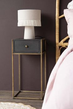 Black Wood and Brass Leg Bedside Table Tall Nightstands, Bedside Drawers, Metal Nightstand, Furniture For Small Spaces, Unique Furniture, Home Furniture, Furniture Design, Unique Bedside Tables, Black Bedside Tables
