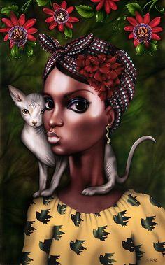 — Marie Laveau by Sara Sanz Marie Laveau, Black Women Art, Black Art, Wiccan Art, Minimal Poster, African Girl, Lowbrow Art, Woman Drawing, Statue